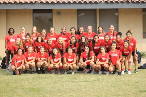 Fresno City College women's soccer team posed for picture after practice on Wednesday, Oct. 18, 2017.