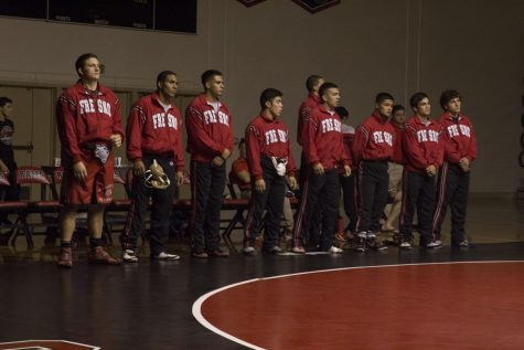 Fresno City College wrestling team get ready to face Santa Rosa College during a home match on Friday, Sept. 22, 2017.