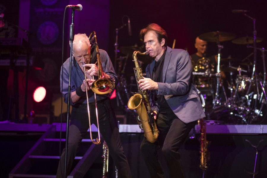 Chicago founding members James Pankow on trombone and Walter Parazaider on saxophone performs at Paul Paul Theater in The Big Fresno Fair on Friday, Oct. 6, 2017.