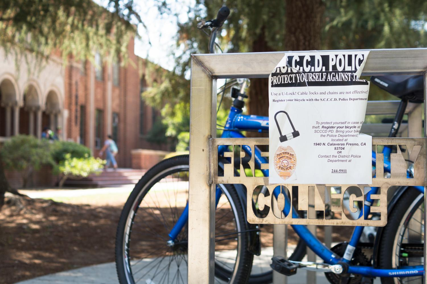 An SCCCD police flier reminds students to use U-locks to prevent bike theft.
