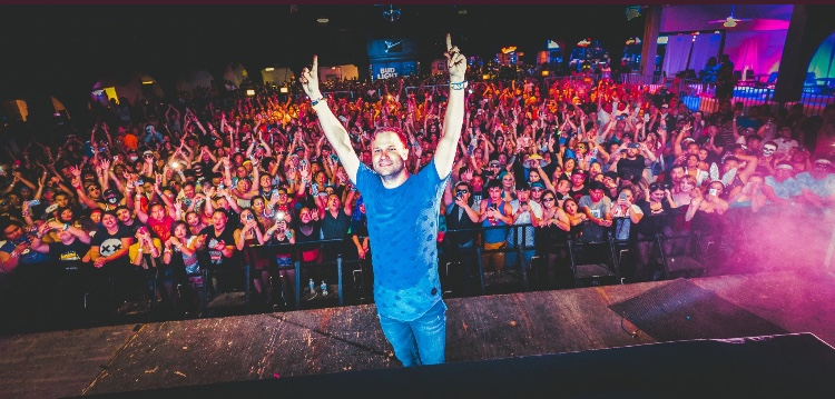 Dash Berlin takes a photo with the crowd at Fresno's Rainbow Ballroom on Saturday, Oct. 28, 2017.