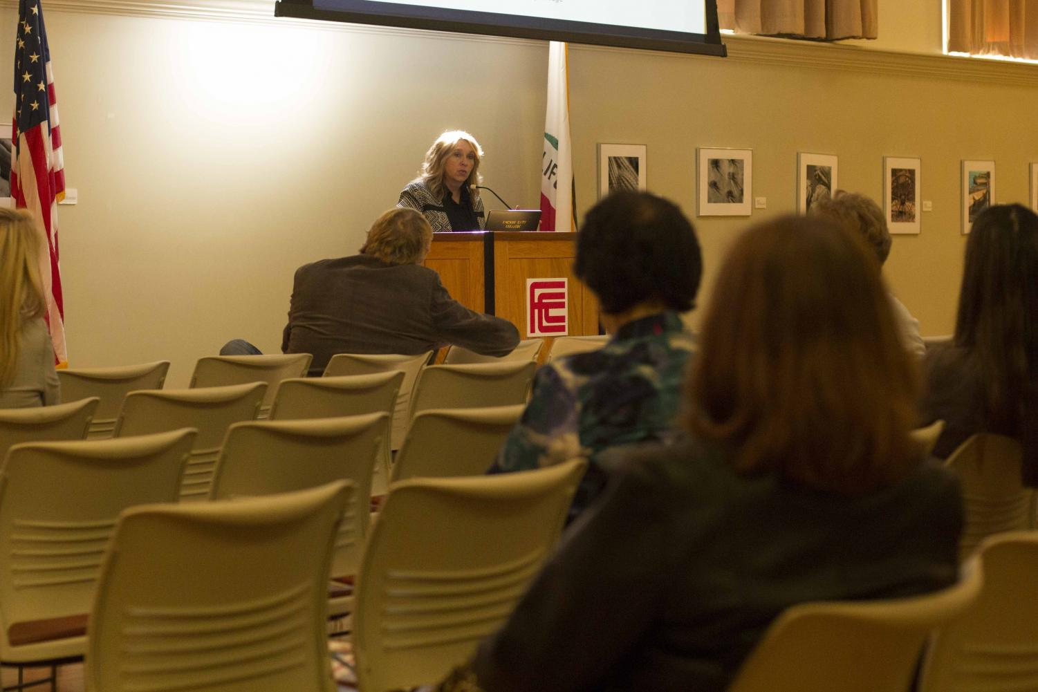 Fresno City College president Carole Goldsmith discusses the college's accreditation status during a meeting in the Old Administration Building on Thursday, Nov. 9, 2017.