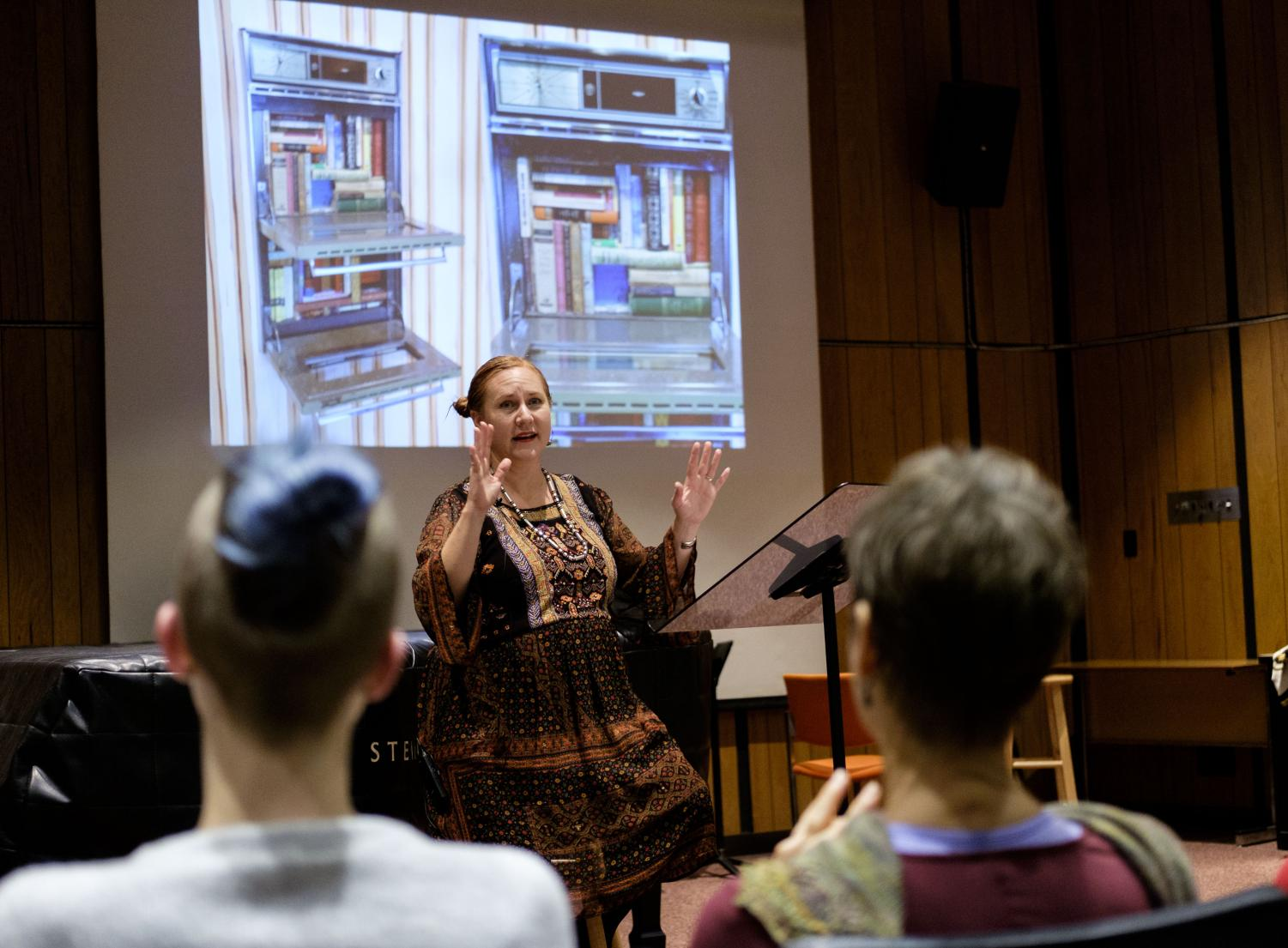 CSU Fullerton professor Rebecca Campbell talks about her artistic process in the FCC Recital Hall on Friday, Nov. 3, 2017.
