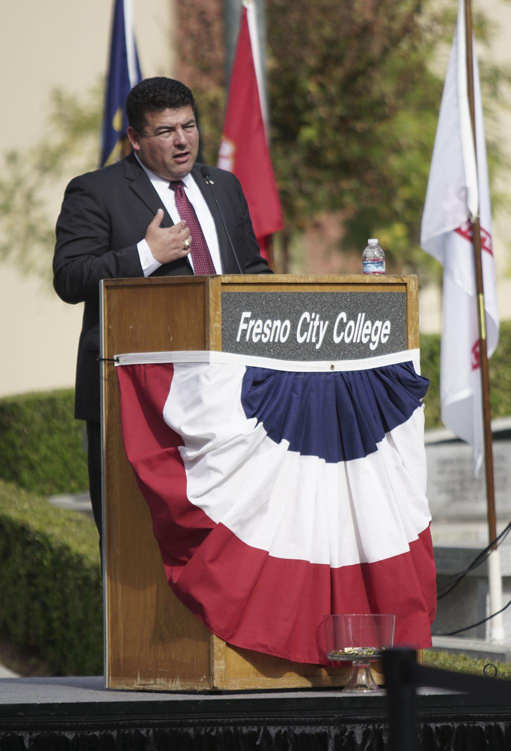 Keynote speaker Lt. Col. Lorenzo Rios speaks about his time as a veteran for the FCC Veterans Day ceremony on Friday, Nov. 3, 2017