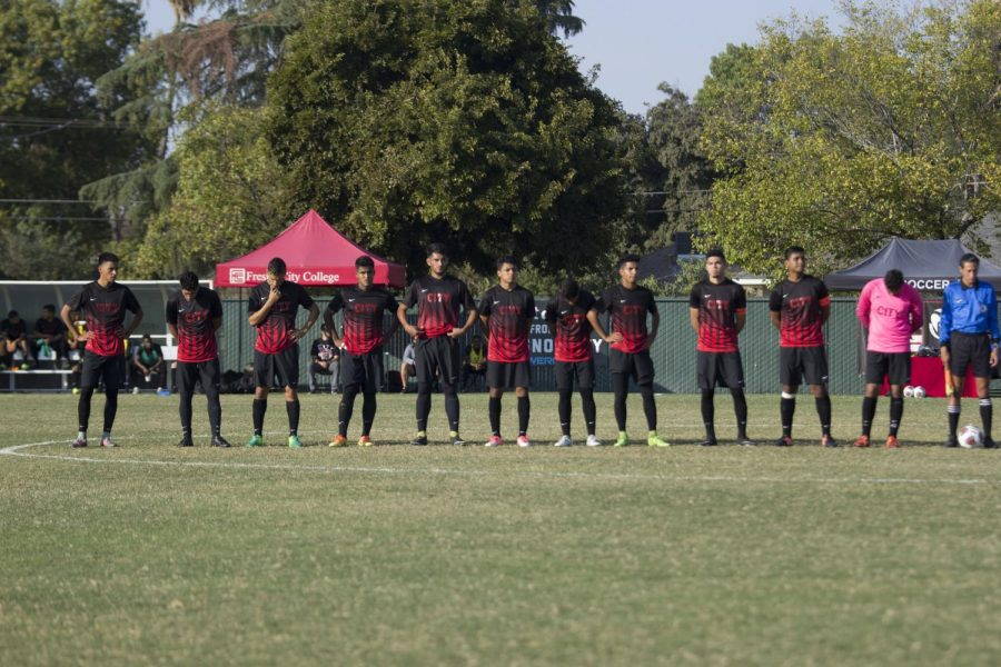 Fresno City College men's soccer team takes the field during a home game match.