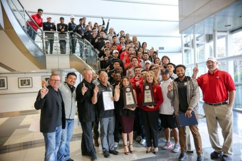 The Fresno City College wrestling, men's soccer, and women's soccer teams along with President Carole Goldsmith gather at Fresno's City Hall to get recognized by councilwoman Esmeralda Soria on Thursday, Dec. 14, 2017.