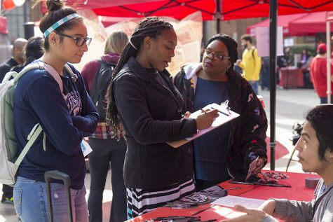 Students sign up for the Extended Opportunities Programs and Services Club at Fresno City College on Wednesday, Jan. 24, 2018.