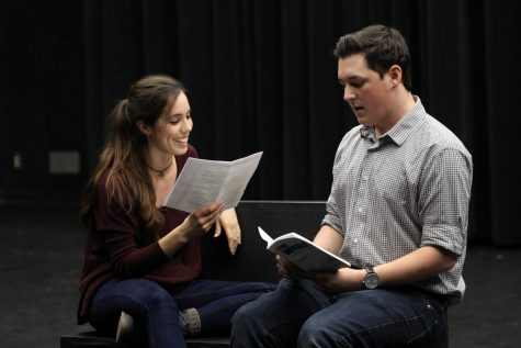 "From left, Cat Evangelho and Joshua Plowman have chemistry reads during callbacks for ""The Whale"" on Jan. 12."