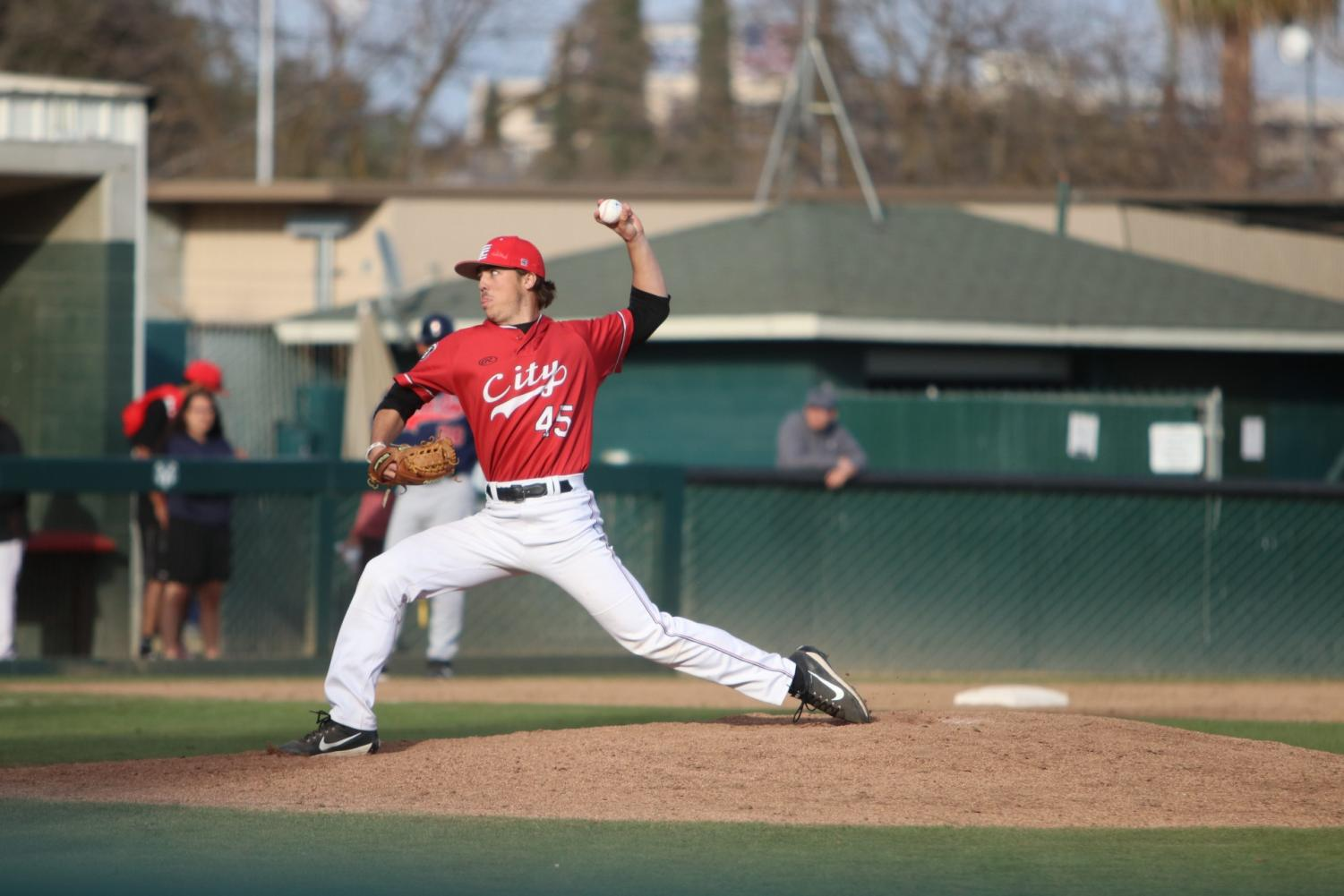 Pitcher Zac Whittaker strike out a Santa Rosa batter in the top of the 7th inning on Saturday, Feb. 24, 2018 by Larry Valenzuela.