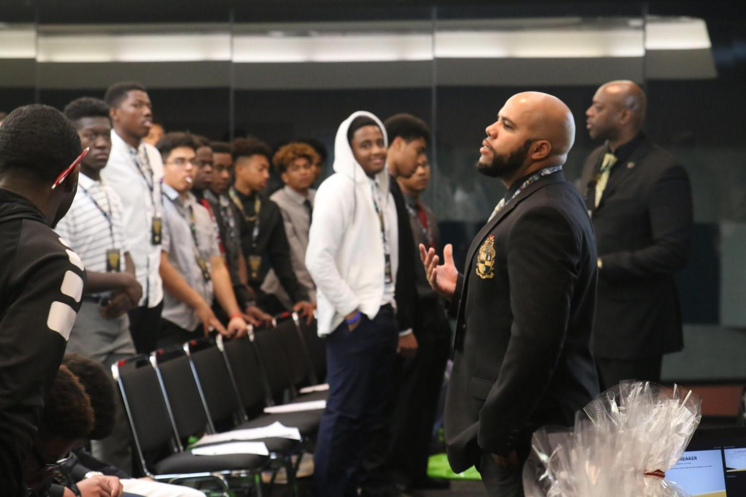 "FCC SYMBAA and IDILE Counselor Cedric Pulliam inspires young black men in a presentation given about ""Failing Forward"", at the 11th annual African American Leadership Conference at the Fresno Convention Center on Thursday, Feb. 8, 2018."