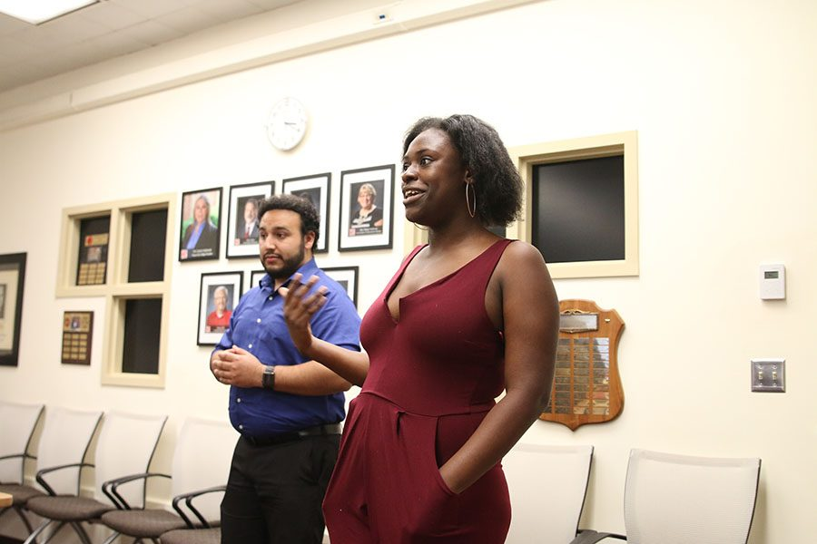 Alexandria Benn adresses Fresno City College's Associated Student Government members on behalf of her Senator nomination at the FCC Student Chambers on Tuesday, March 13,2018.