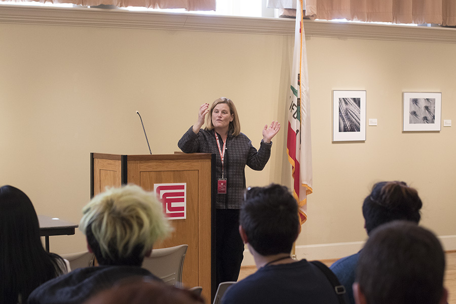 Chair of Chairs for accredation team, Dr. Erika Endrijonas speaks to students and faculty as the a forum on Tuesday, March 6, 2018. Photo by Larry Valenzuela