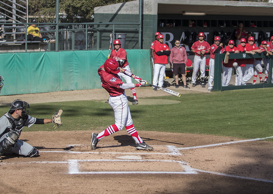 Freshman infielder, Ian Ross launches the ball into the out field aganist a pitcher from Porterville College on Tuesday, March. 6, 2018. Photo by Larry Valenzuela