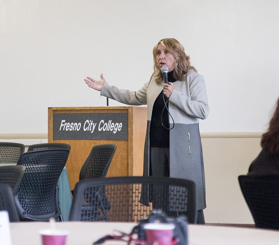 Fresno+City+College+President+Carole+Goldsmith+addresses+students+and+faculty+at+an+open++forum+on+Thursday%2C+Feb.+22%2C+2018.