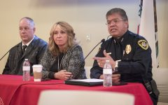 Chief of Police Jose Flores speaks at the Safety Event accompanied by Carole Goldsmith, Fresno City College president, Sean Henderson, dean of students at room 251 in the Old Administration Building at FCC on Tuesday, March 20, 2018.