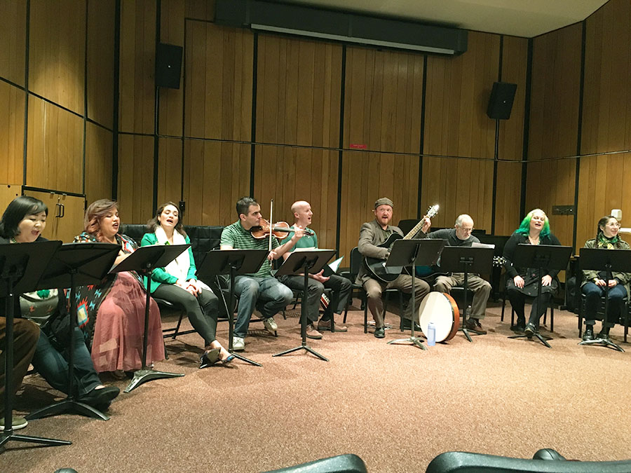 The Fresno City College Opera perform a traditional Irish song in honor of St. Patrick's Day at the FCC Recital Hall on March 17.