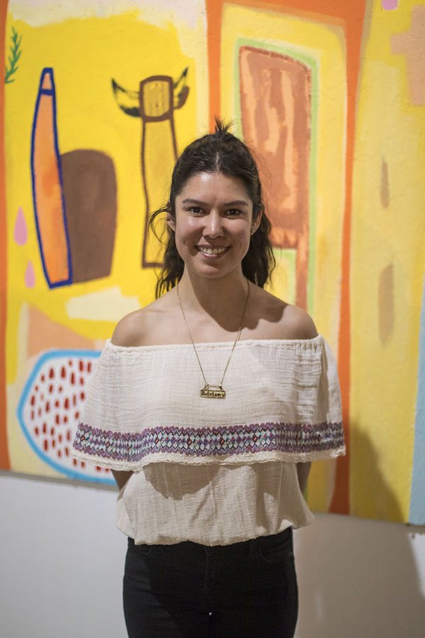 "Adrianna Alejo Sorondo showcases her art work at the ""Thickets"" exhibit at the Fresno City College Art Space Gallery on Thursday, March 1, 2018."