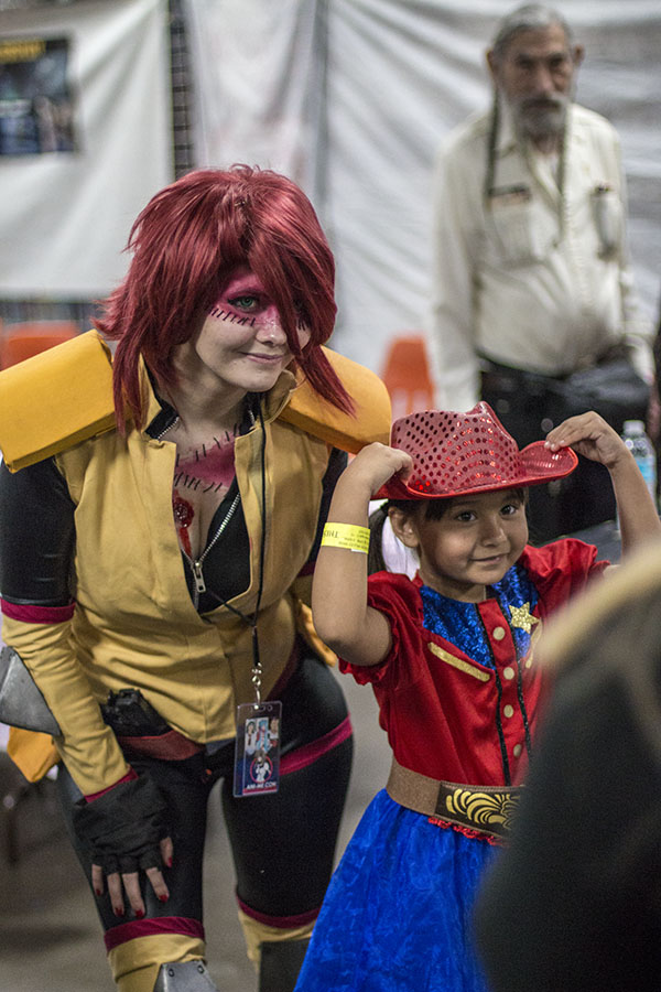 Wynsom Rose, dressed up as Zombina from the anime Monster Musume, poses for a photo with fan Khloe McBride at Ani-Me Con at the Fresno Fairgrounds on March 18, 2017.