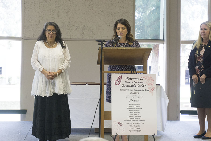 Fresno City Council President Esmeralda Soria presents women of the year Socorro Pelayo at the fourth annual Women Leading the Way Reception in the Fresno City College cafeteria on  Saturday, March 17, 2018.