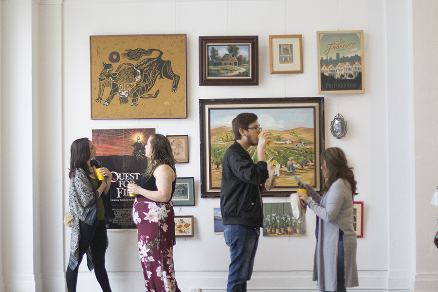 Local art enthusiasts flock to the biweekly Art Hop in downtown Fresno, offering art exhibits, films, pop-up shops, dance classes, street food, music and more on Thursday April 5, 2018.
