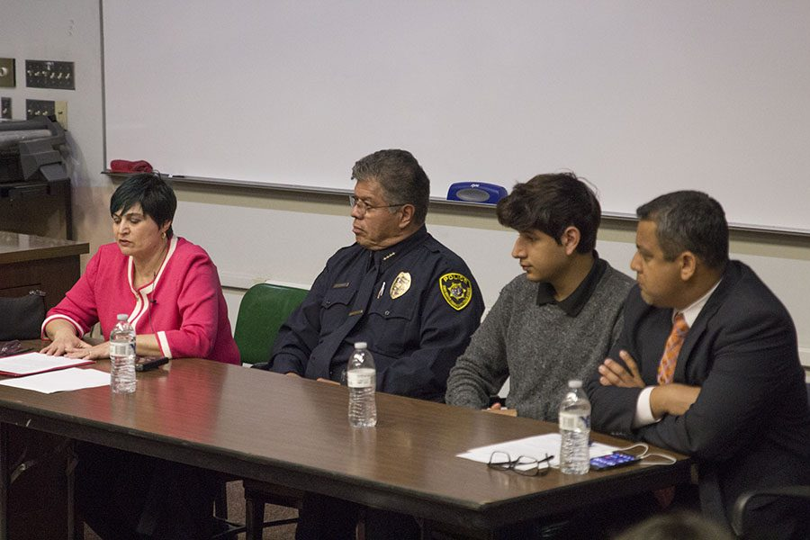 From left, psychology instructor Mary Ann Valentino, district police Chief Jose Flores, student Armani Martinez and SCCCD trustee Miguel Arias speak at the