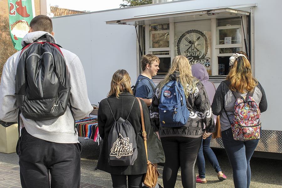 Students wait in line for the food truck on Wednesday, Jan. 24, 2018.