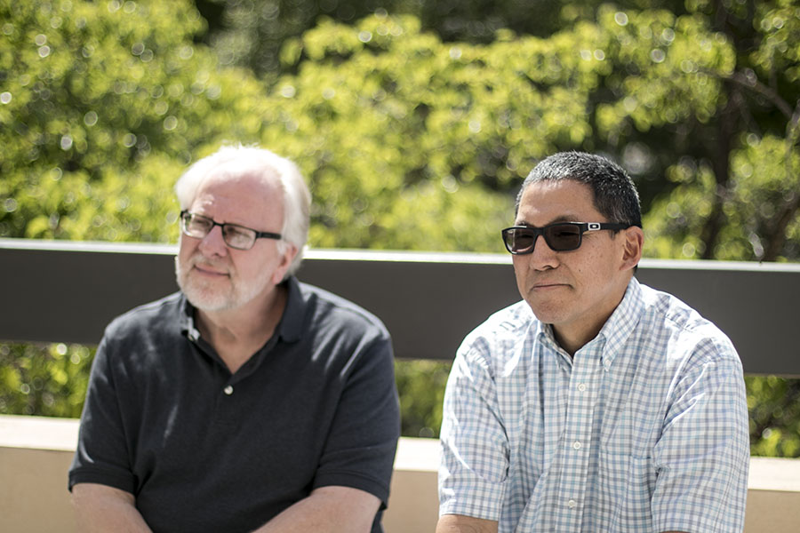 From left, Mike Dana and Larry Honda reflect on their careers as music instructors at Fresno City College.