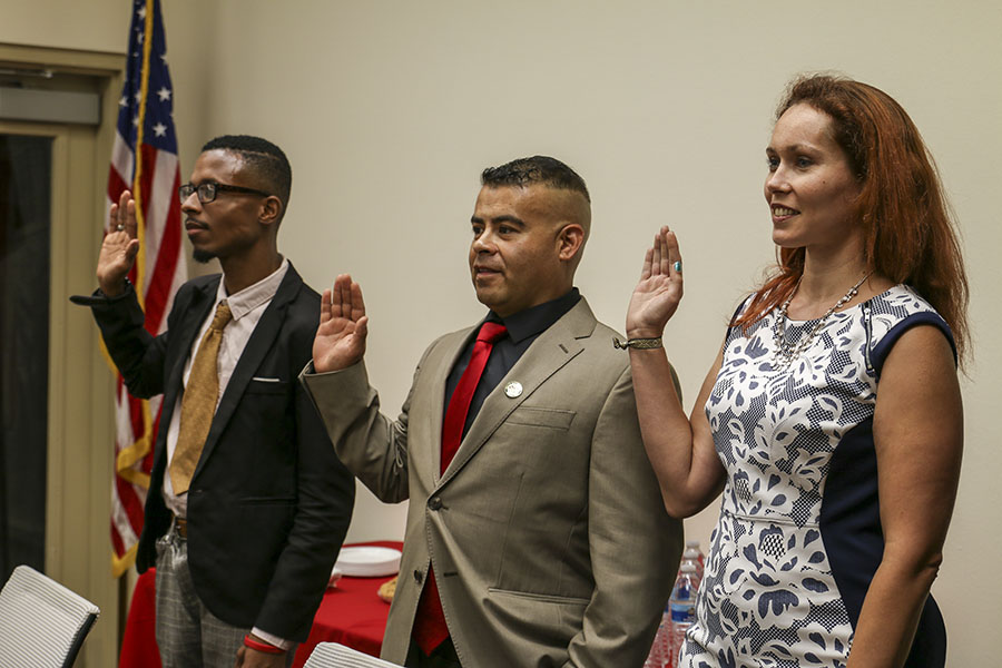 Fresno City College's Associated Student Governments recent elects Christopher Leo Walkin, Carlos Rodriguez, and Angela Van Gilder are sworn into office at the Student Senate Chambers on July 18, 2018.