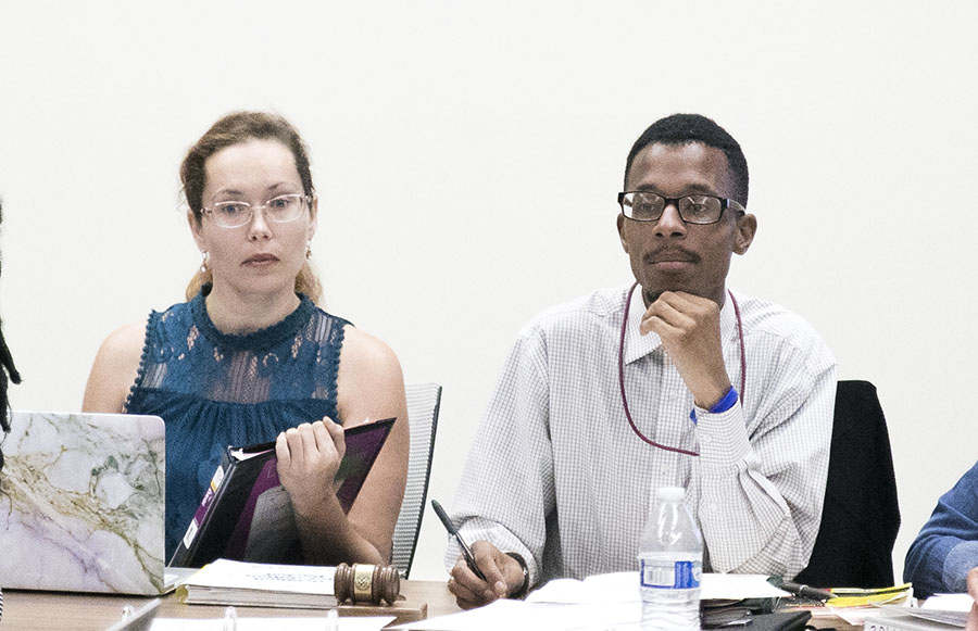 Vice President Angela Van Gilder (left) and President Christopher Washington (right) lead the weekly Associated Student Government meeting on Tuesday, Sept. 11, 2018.