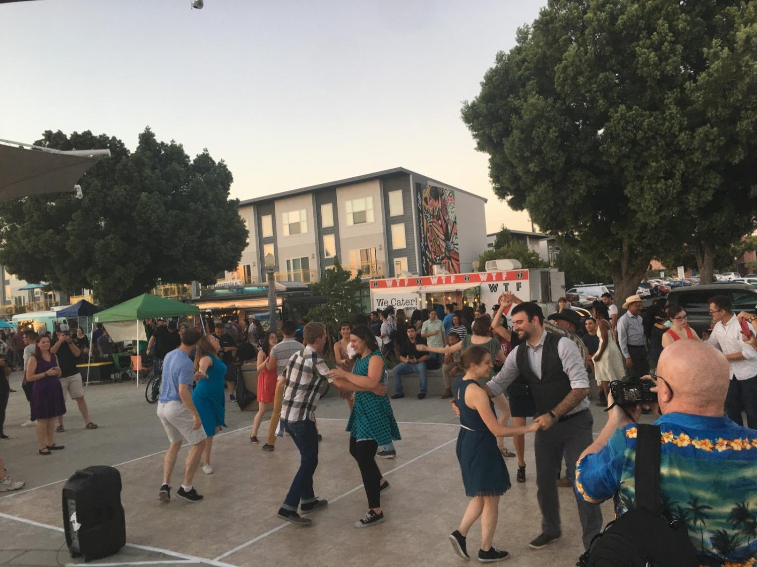 People dancing to jazz at Cultural Arts District Park.  Thursday, Sept. 6, 2018.