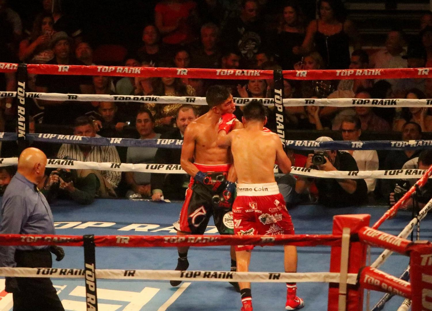 World champion Jose Ramirez connects on a devastating left hook to Antonio Orozco at the Save Mart Center on Friday, Sept. 14.