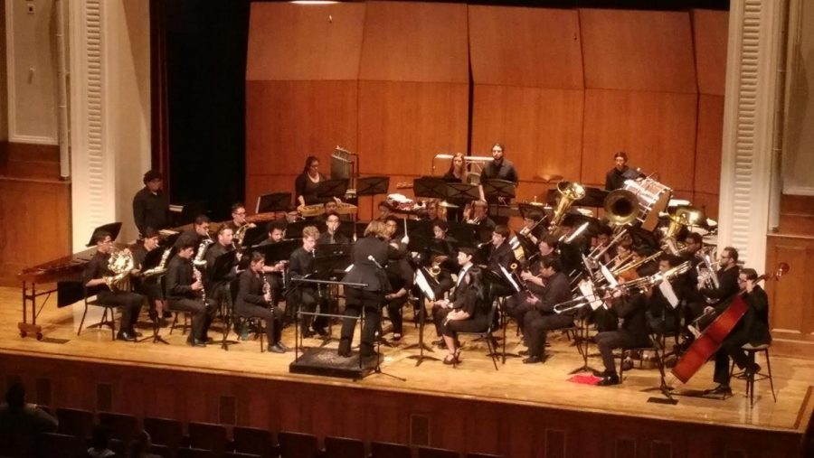 FCC and COS Bands Join Musical Forces in the FCC Auditorium on Oct. 3, 2018.