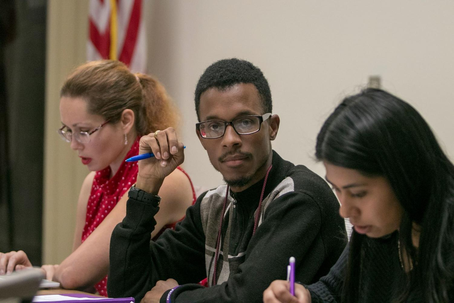 Student government president Christopher Washington leads the Associated Student Government meeting on Tuesday, Oct. 2, 2018.