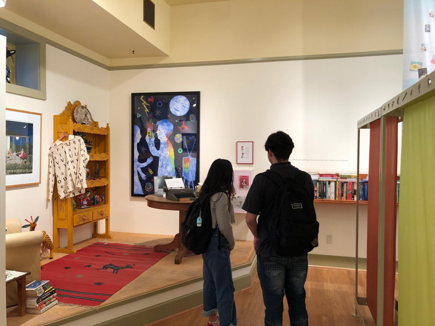 Students are placed inside the life of Gary Soto while visiting his museum at Fresno City College on Tuesday, Oct. 2018.