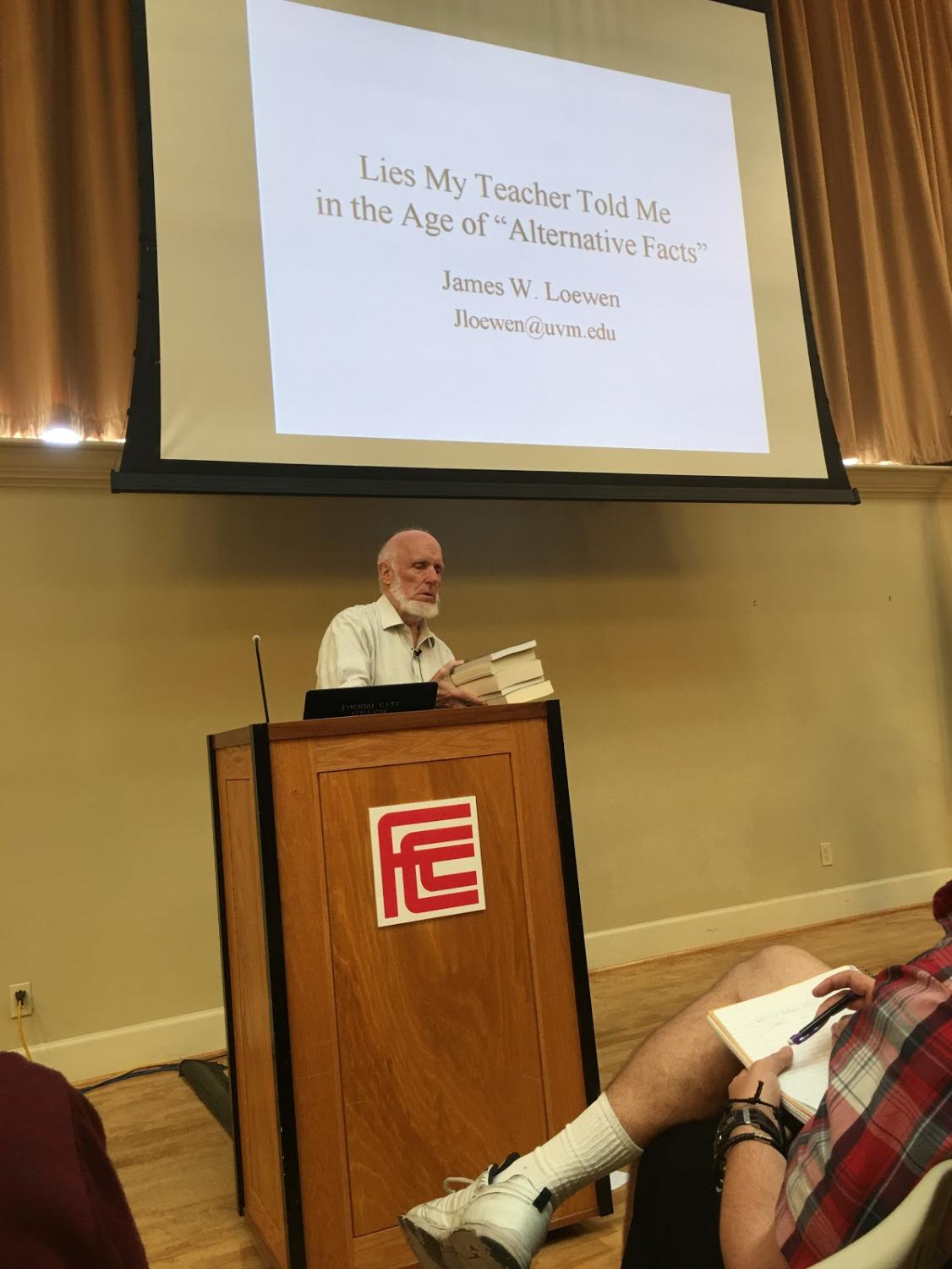 James Loewen preparing to give a lecture at Fresno City College on Thursday, October 4  2018.