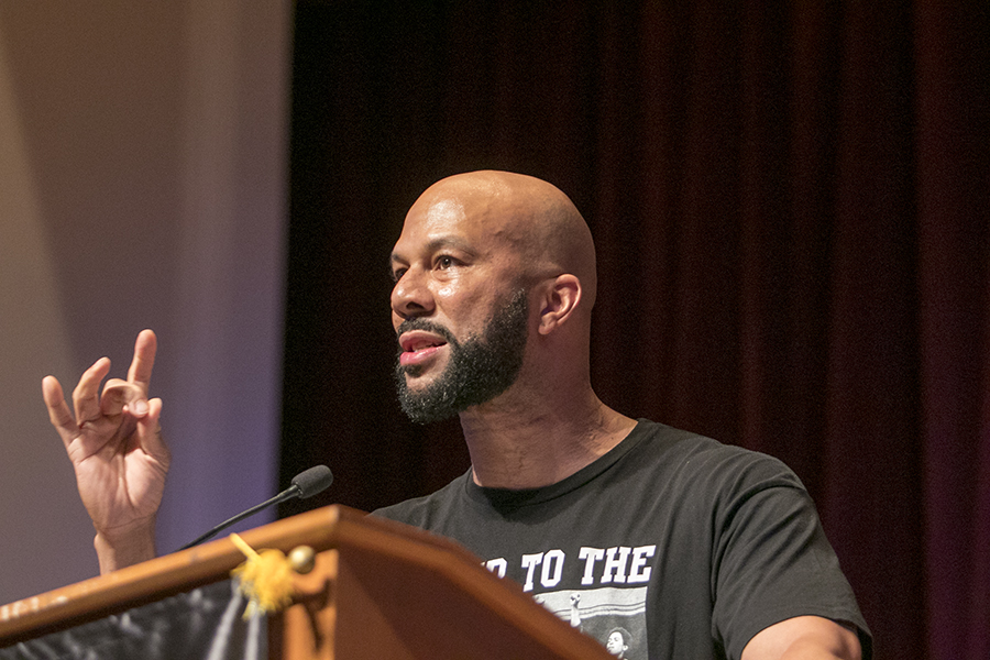 Common speaks at Fresno City College's Old Administration Building Thursday morning, Oct. 11, 2018.