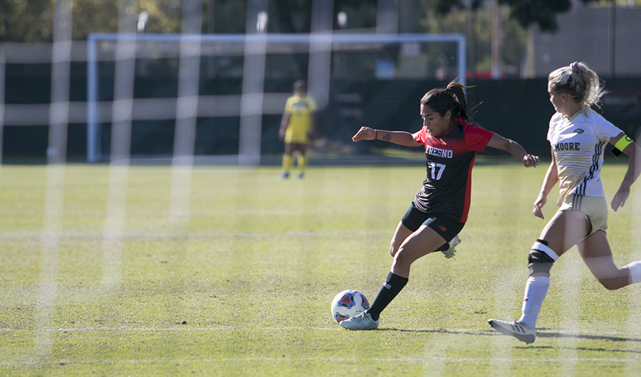 Jasmin Aguirre winds up for a kick towards a goal against Lemoore college at the Fresno City College soccer field on Tuesday, Oct. 16, 2018. photo by Larry Valenzuela