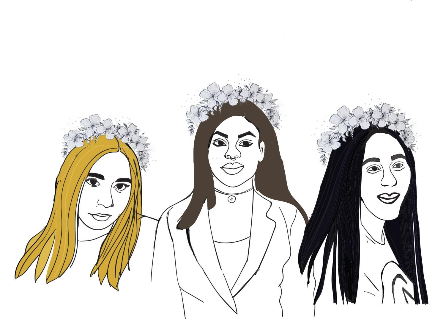 Anjanae Freitas, Tamika Rey, and Toni Woodruff, three Rampage reporters sharing their stories of domestic and sexual abuse. Illustration by Paulina Rodriguez-Ruiz.