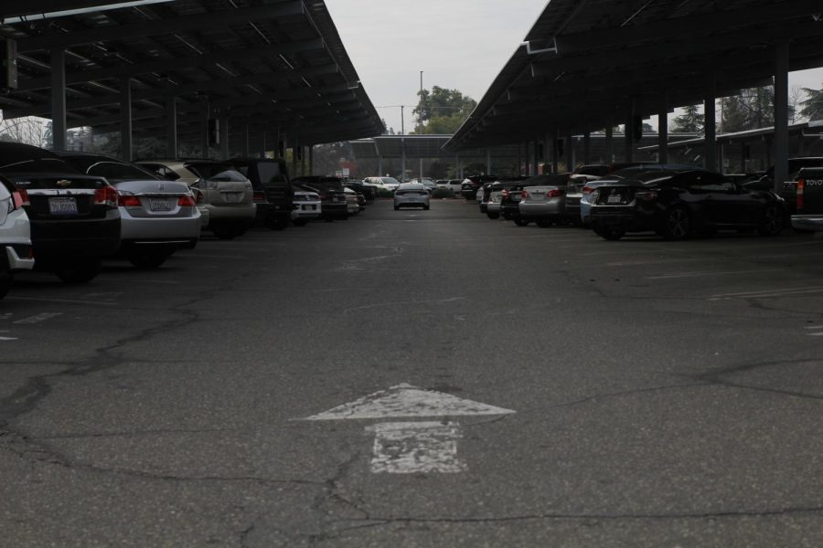 Drivers search for available parking at the FCC parking lot on Jan. 30, 2019