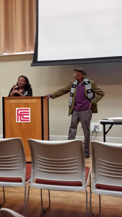 President of the African American Faculty and Staff Association, Monique Kelley and Dr. Fitzalbert Marius at the Opening Ceremonies for Black History Month, Friday, Feb. 1, 2019.