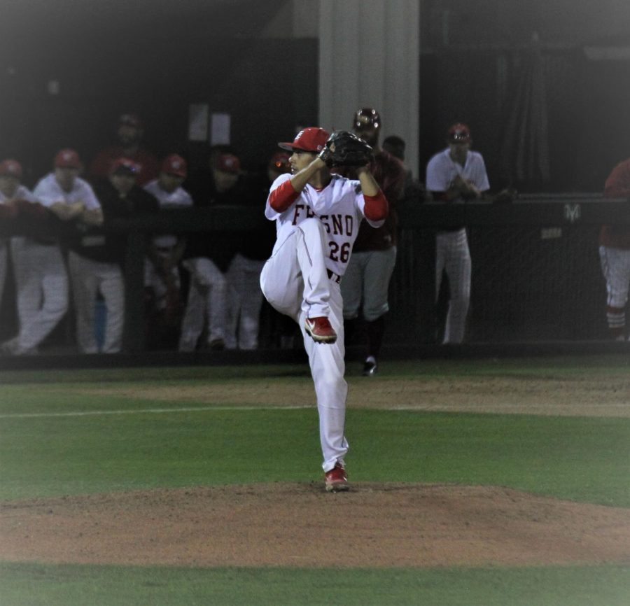 Freshman+starting+pitcher+Eddie+Rios+kicks+into+his+windup+in+the+Rams%27+2-1+win+over+the+Los+Medanos+Mustangs+on+Thursday%2C+Jan.+31.+Photo+by+Ben+Hensley