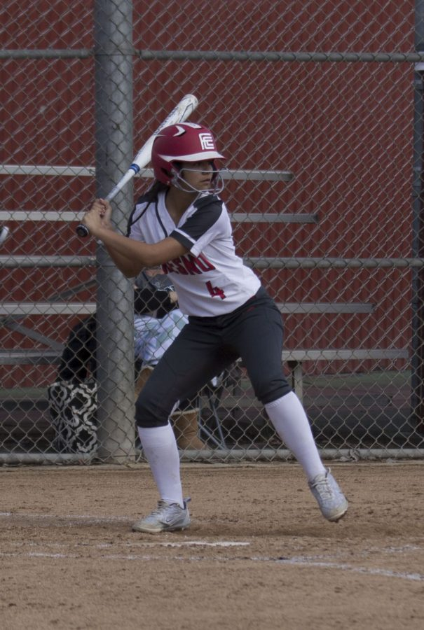 Sophomore+infielder+Ayleen+Gonzalez+at+the+plate+in+the+Rams%27+game+against+Ohlone+on+Feb.+9%2C+2019.+Photo+by+Ben++Hensley
