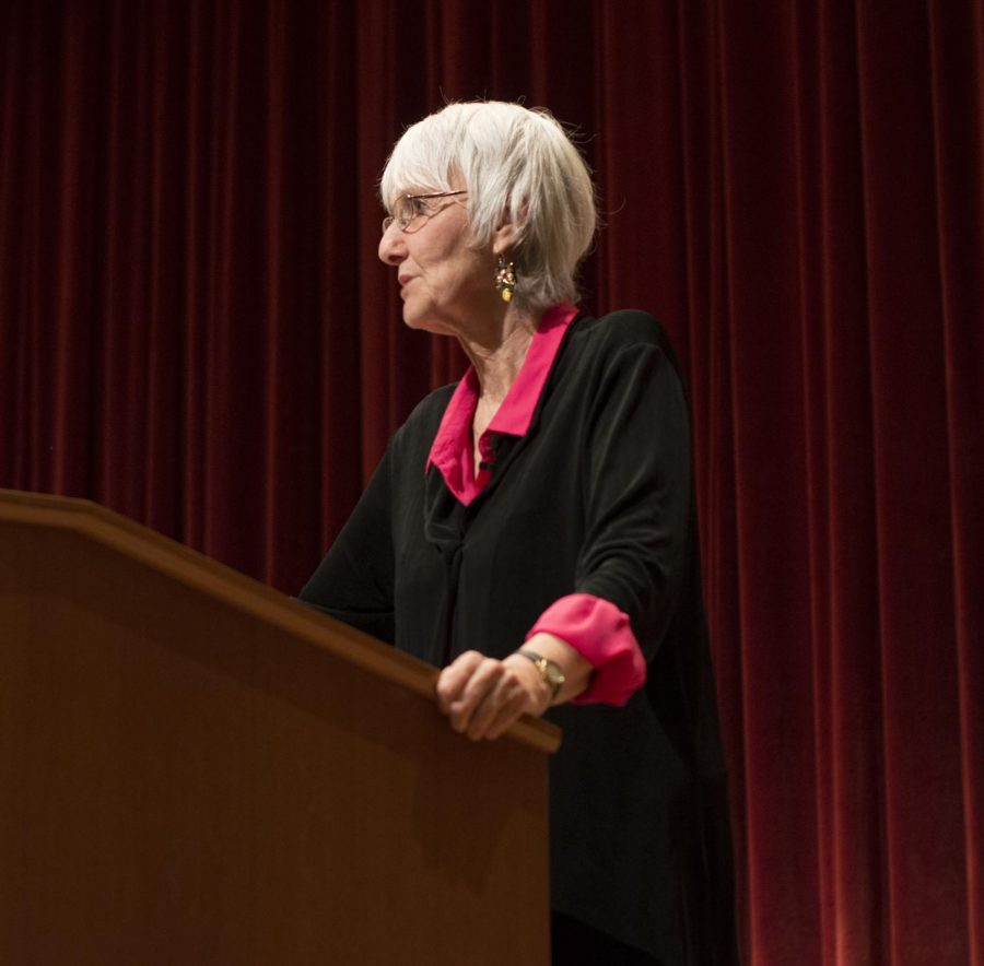 """Sue Klebold speaks about her book """"A Mothers Reckoning"""" in the OAB auditorium on Feb. 13 to raise awareness for suicide prevention."""