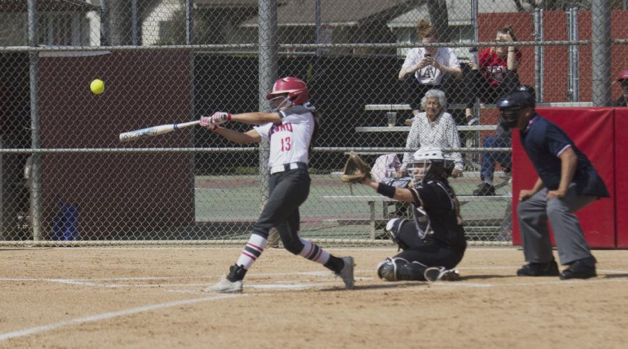 Rams%27+sophomore+outfielder+Savannah+Pena+connects+with+a+pitch+that+would+end+up+deep+over+the+left+field+fence+for+a+home+run+during+the+Rams%27+blowout+win+over+Taft+College+on+March+19%2C+2019.