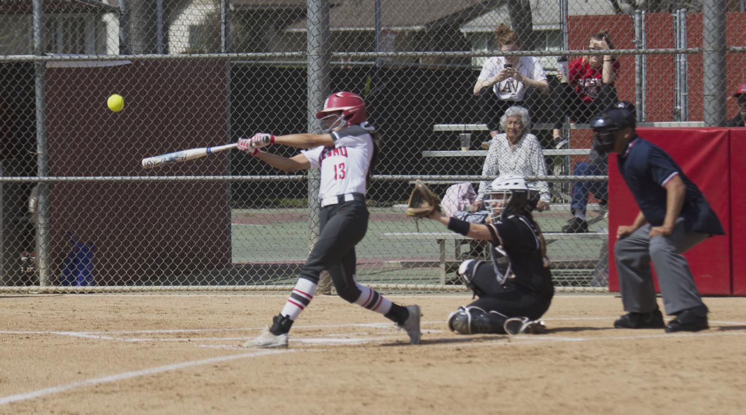 Rams' sophomore outfielder Savannah Pena connects with a pitch that would end up deep over the left field fence for a home run during the Rams' blowout win over Taft College on March 19, 2019.