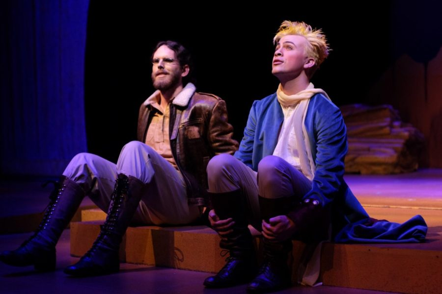 Sean Stoll as The Aviator, left, and Anthony TeNyenhuis as the Little Prince, right, discuss their experiences as they're stranded in the desert. Photo courtesy of James Knudsen