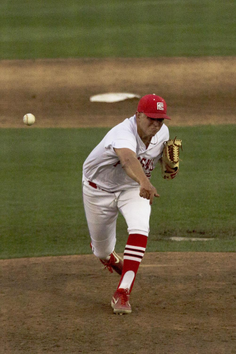 Daren Jansen throws four strong innings of relief during the Rams' 7-3 loss against the Cerro Coso Coyotes on April 23, 2019.