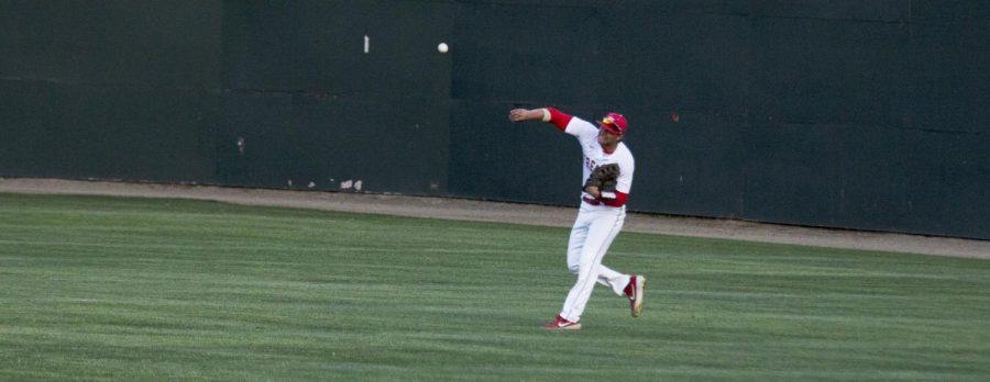 Rams' outfielder Chet Allison rifles a ball back to the infield during the Rams' april 23 game against Cerro Coso.
