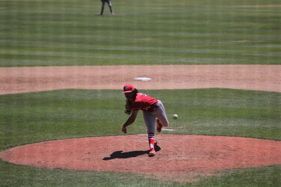 Rams starting pitcher Alec Gamboa throws eight innings in the Rams  8-3 win over the Cabrillo College Seahawks on May 4, 2019.