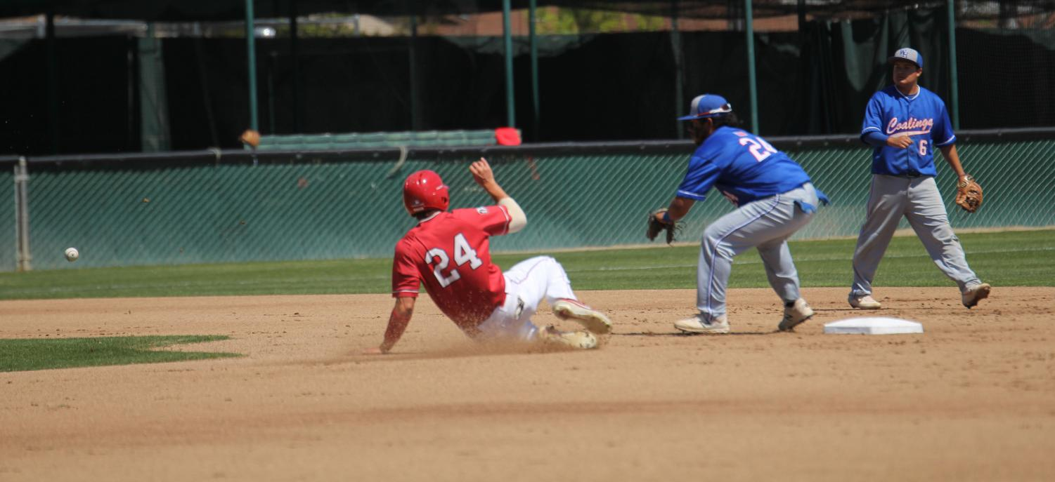 Chet Allison slides in safely at second following a stolen base against West Hills Coaling on April 2, 2019.